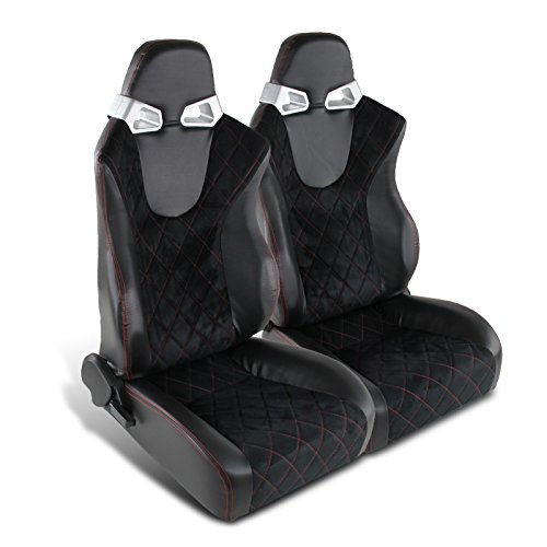 Spec-D Tuning RS-C400SURS-2 Seat (Schwarzer RVC mit Blue Suede Racing - Paar)